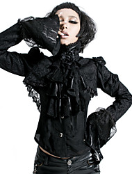 punk, y-424 vintage / chemise courte rave femmes sexy manches longues inélastique (coton)