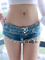 Women's Patchwork Over Hip Slim Low Rise Fashion Shorts Pants,Sexy / Punk & Gothic