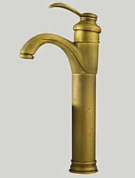 Bathroom Sink Faucet Antique Inspired Design-Antique Brass Finish Faucet Single Handle