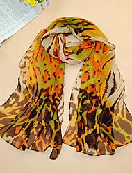 Women's Chiffon Leopard Print Scarf,Yellow/Fushcia/Black/Coffee