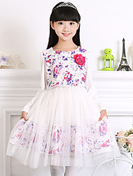 Girl's Cotton Spring/Autumn Lace Long Sleeve Dress With Flower
