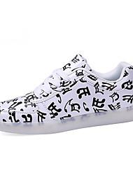 Herren-Sneaker-Outddor-PU-Flacher Absatz-Komfort / Rundeschuh-Schwarz und Weiss