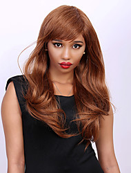 Long Slightly Curled Side Bang Women's Sweet Human Hair Wig