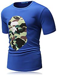 Men's Print Casual / Sport T-Shirt,Polyester / Nylon Short Sleeve-Black / Blue / Green / Multi-color / White