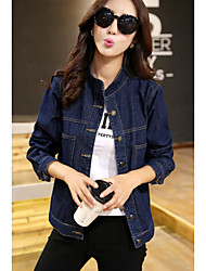 Women's Going out / Casual/Daily Simple / Fall Denim Jackets,Solid Stand Long Sleeve Blue Cotton Medium