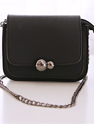Women Patent Leather Chain Gourd Lock Casual Solid Color  Shopping Shoulder Key Holder Mobile Phone Bag