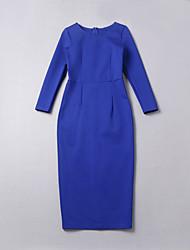 simple démo sortir / jour / vacances / robe casual / mignons / sophistiqué, solide midi col rond ½ manches bleu longueur