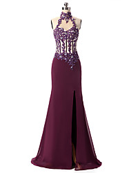 Mermaid / Trumpet Halter Floor Length Chiffon Formal Evening Dress with Appliques
