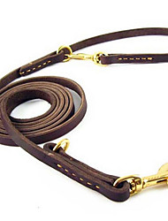 Dog Leash / Hands Free Leash Adjustable/Retractable / Running Solid Brown PU Leather
