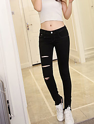 Women's Solid  Fashion Slim Black Jeans Pants,Sexy