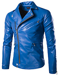 Men's Long Sleeve Casual / Formal / Plus Size Jacket,Special Leather Types Solid Black / Blue