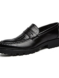 Men's Loafers & Slip-Ons Spring / Fall Comfort PU Casual Flat Heel Slip-on Black Walking