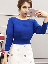 Damen Kurz Pullover-Lässig/Alltäglich Einfach Solide Blau / Weiß / Schwarz / Grau Rundhalsausschnitt Langarm Baumwolle / AcrylFrühling /