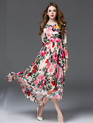 Women's Party/Cocktail Boho Loose Dress,Floral Round Neck Maxi ¾ Sleeve Multi-color Polyester Summer