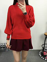 Women's Going out/ Street chic Regular Pullover,Solid Red / Black / Multi-color Stand Long Sleeve WoolFall /