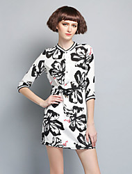 Boutique S Women's Going out Chinoiserie Loose Dress,Floral Stand Above Knee ¾ Sleeve White Silk Spring