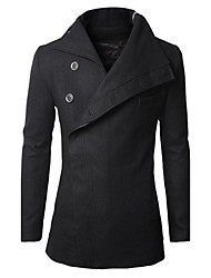 Men's Solid Casual / Work Coat,Cotton Long Sleeve-Black / Brown / Gray
