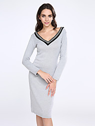 Women's Sexy Bodycon Casual Micro-elastic Long Sleeve Knee-length Dress (Knitwear)