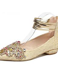 Черный / Золотистый-Женский-Для прогулок-Дерматин-На низком каблуке-На каблуках-Обувь на каблуках