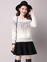 Damen Standard Pullover-Lässig/Alltäglich Street Schick Druck Rosa Beige Schwarz Grau Rundhalsausschnitt Langarm Wolle BaumwolleHerbst