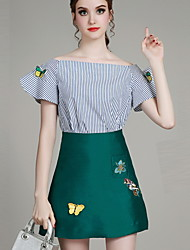 MIUCO Casual/Daily Simple Summer Set,Striped / Embroidered Boat Neck Short Sleeve Green Polyester Thin