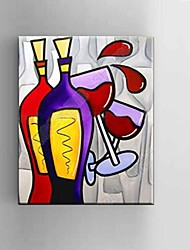 Oil painting Modern Abstract Pure Hand Draw Frameless Decorative Painting Red Wine Glass with Stretched Framed