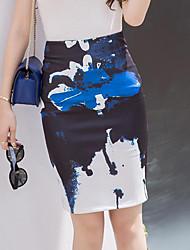 Women's Print Blue Skirts,Street chic Above Knee