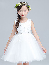 A-line Knee-length Flower Girl Dress - Cotton / Satin / Tulle Sleeveless Jewel with Appliques / Flower(s)