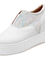 Damen-Loafers & Slip-Ons-Büro / Lässig-Kunstleder-Plateau-Plateau / Creepers / Pumps / Rundeschuh-Schwarz / Weiß / Silber