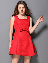 DREAMY LAND  Women's Going out Cute Dress,Solid Square Neck Above Knee Sleeveless Red Cotton / Polyester