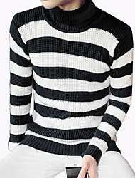 Men's Fashion Striped Turtlenecks Casual Outdoor Knitting Pullover Sweater;Causal/Plus Size