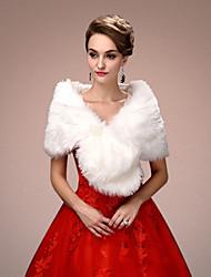 Women's Wrap Capelets Sleeveless Faux Fur White Wedding / Party/Evening V-neck 45cm Draped Open Front