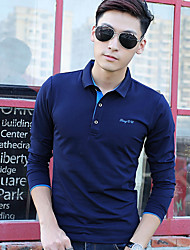 Men's Long Sleeve Polo,Cotton Casual Letter