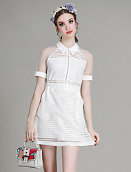 MIUCO Casual/Daily Simple A Line Dress,Solid Shirt Collar Above Knee Short Sleeve White / Black Polyester