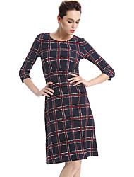 Mulheres Bainha Vestido,Casual / Trabalho / Tamanhos Grandes Moda de Rua Quadriculada Decote Redondo Altura dos Joelhos Manga ¾ Preto