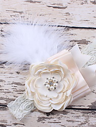 Korean Flower Girl's Fabric Feather Flower Headbands