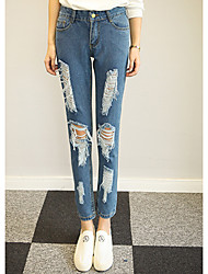 Women's Solid Blue Jeans / Loose Pants,Simple