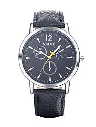 Men's Women's Dress Watch Fashion Watch Quartz / Leather Band Vintage Casual Black White Blue Brand