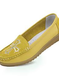 Damen-Flache Schuhe-Lässig-Leder-Flacher Absatz-Komfort-Blau Braun Gelb