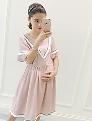 Maternity Casual/Daily Simple Loose Dress,Solid Round Neck Knee-length Short Sleeve Pink Polyester Summer