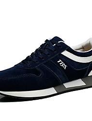 Masculino-Tênis-Conforto-Rasteiro-Preto Azul-Camurça Lona-Casual Para Esporte