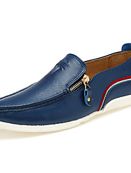 New Fashion Men's Genuine Leather Breathable Slip-on Loafers Flats Closure with Zipper for Office/Wedding/Business