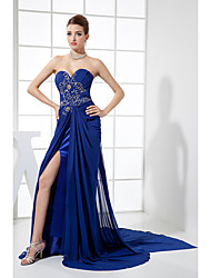 Cocktail Party / Formal Evening Dress Trumpet / Mermaid Sweetheart Chapel Train Chiffon with Beading