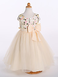 A-line Tea-length Flower Girl Dress - Satin / Tulle / Polyester Sleeveless Jewel with Bow(s) / Sequins