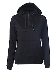 Casual/Daily Simple Regular Hoodies,Solid Black Hooded Long Sleeve Cotton Spring / Fall Medium