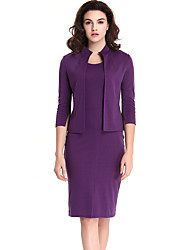 Women's Plus Size / Casual/Daily / Work Street chic All Seasons Set Skirt,Solid Crew Neck ¾ Sleeve (Blazer with Dress)