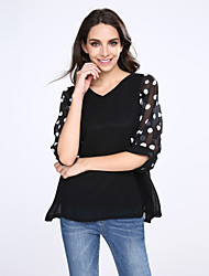 Women's Polka Dot Pink/Black Blouse, Plus Sizes V Neck Half Sleeve