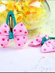 Korean Flower Girl's Bow Fabric Hair Clip