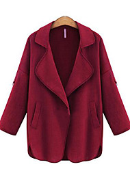 Women's  Casual/Daily Street chic Spring / Fall Jackets,Solid Notch Lapel Long Sleeve Red / Black / Green Plus Size