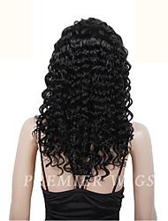 premierwigs 8 '' - 24 'курчавый бразильский виргинский полный шнурок человеческих волос парики шелк база фронта шнурка парики для